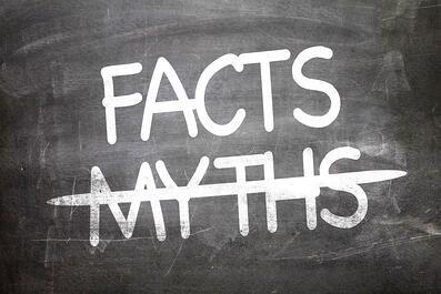 Facts Myths written on a chalkboard-1