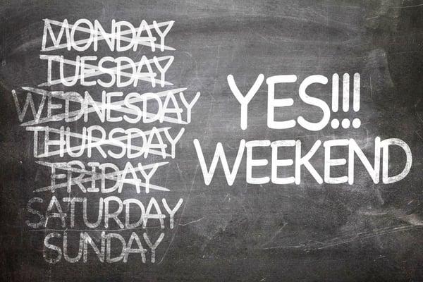 Yes!!! Weekend written on a chalkboard